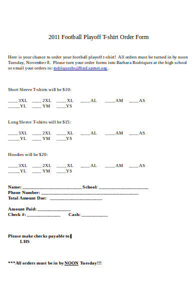 football t shirt order form