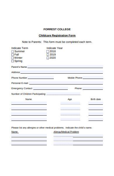 forest college childcare registration form