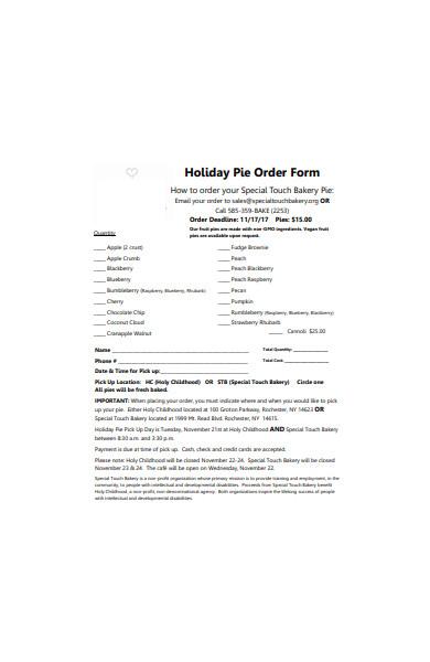 formal bakery order form