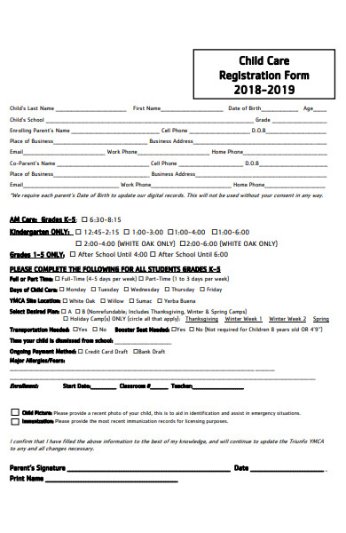 formal childcare registration form