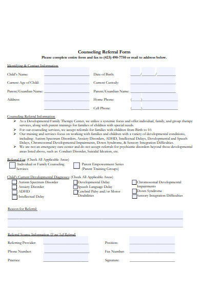 formal counselling referral form