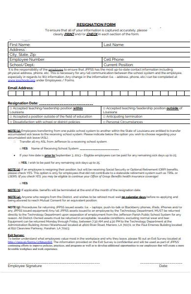 formal employee resignation form