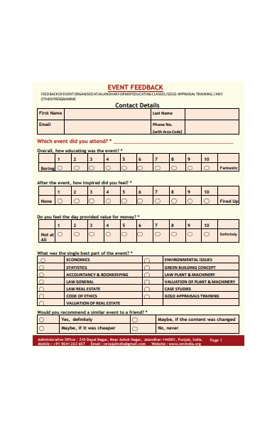 formal event feedback form template