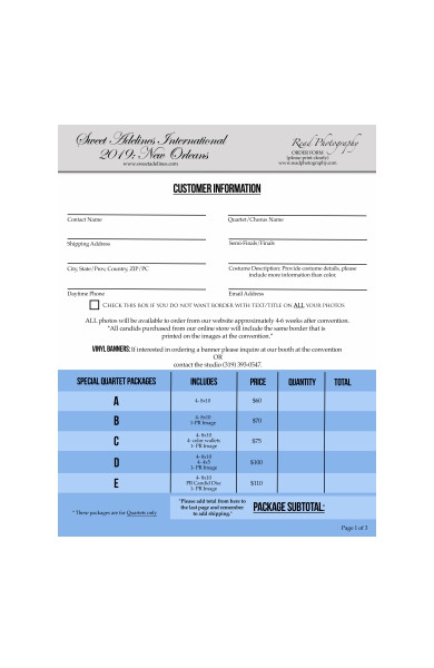 formal photography order form