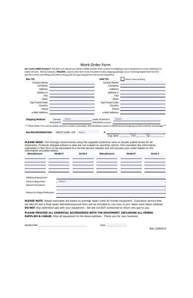 formal repair work order form