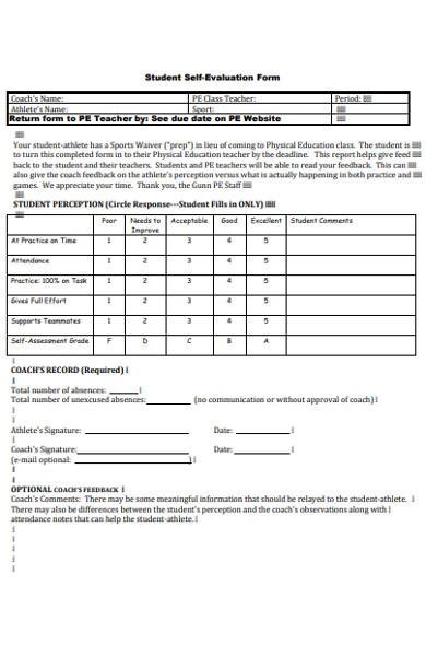 formal self evaluation form