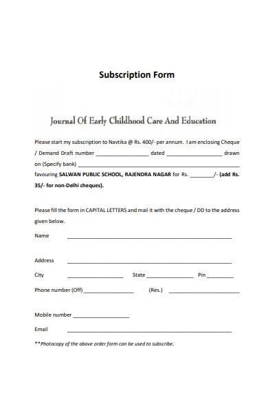formal subscription form example