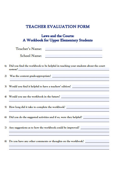 formal teacher evaluation form