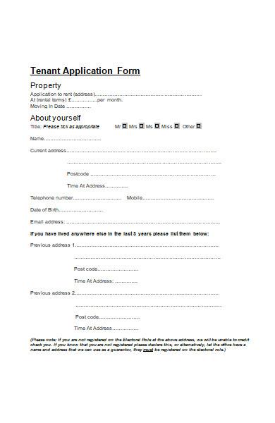 formal tenant application form in pdf