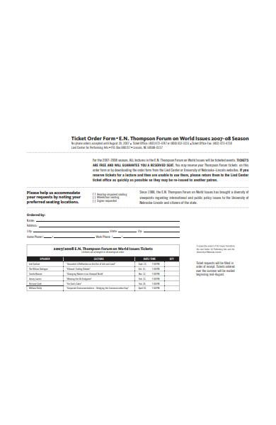 formal ticket order form sample