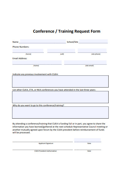 formal training request form