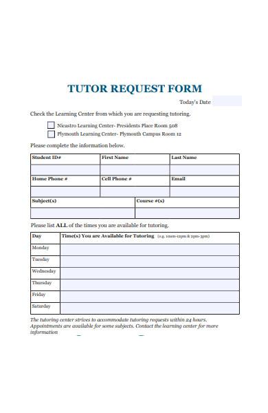 formal tutor request form