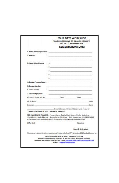 four workshop registration form