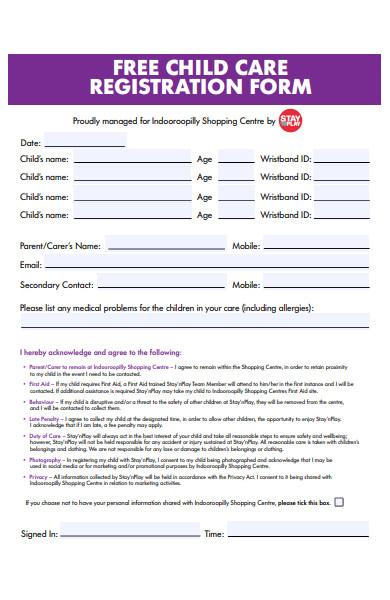 free childcare registration form