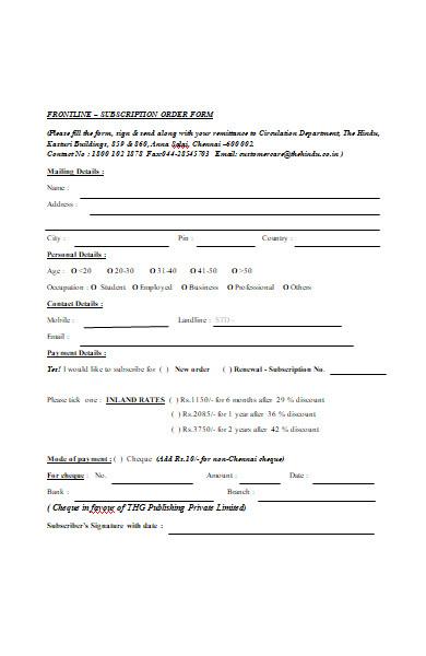 front line subscription order form