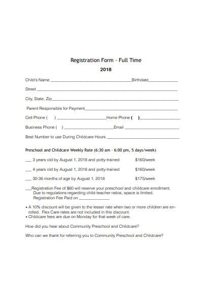 full time childcare registration form