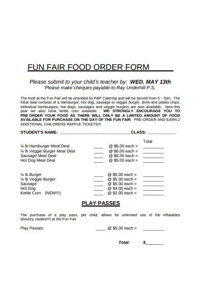 fun fair food order form