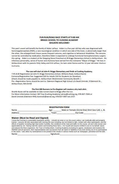 fun run race registration form