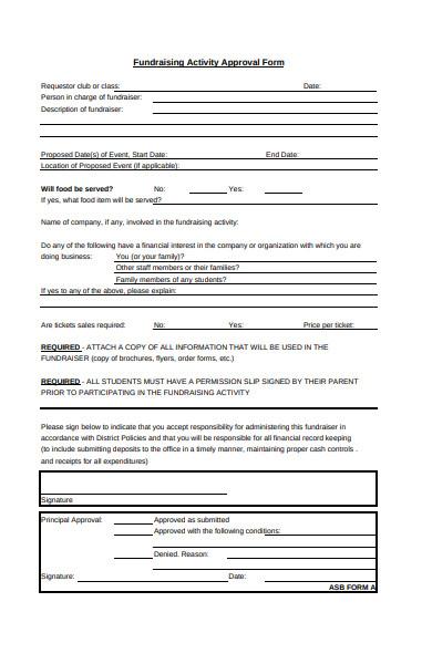 fundraising activity order form