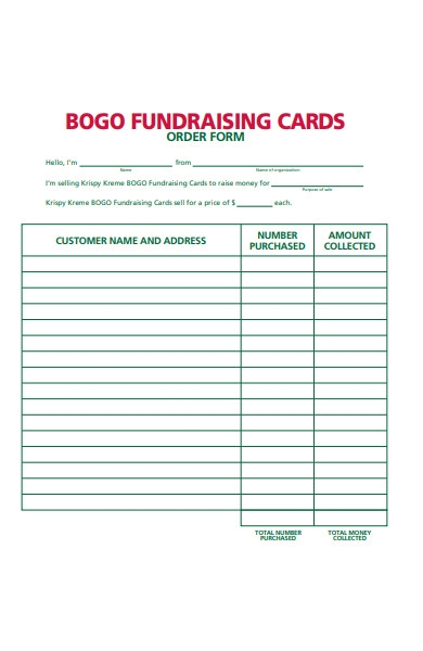 fundraising cards order form