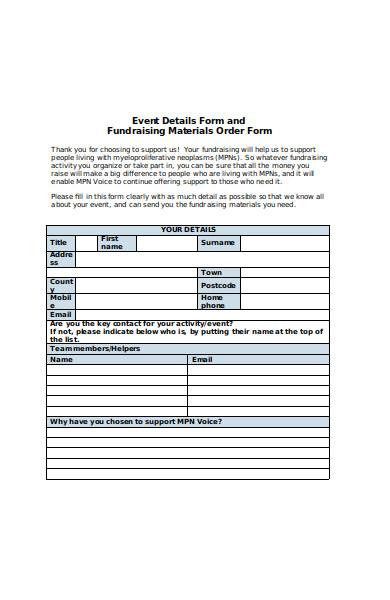 fundraising details order form