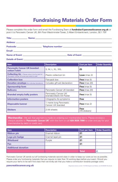 fundraising information order form