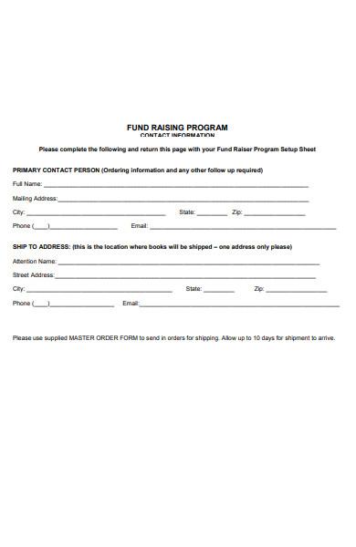 fundraising program order form