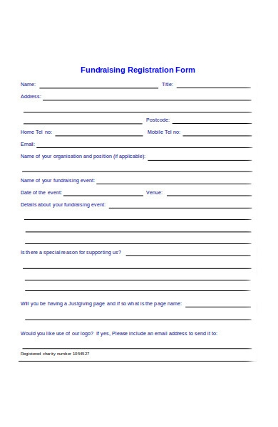fundraising registration order form