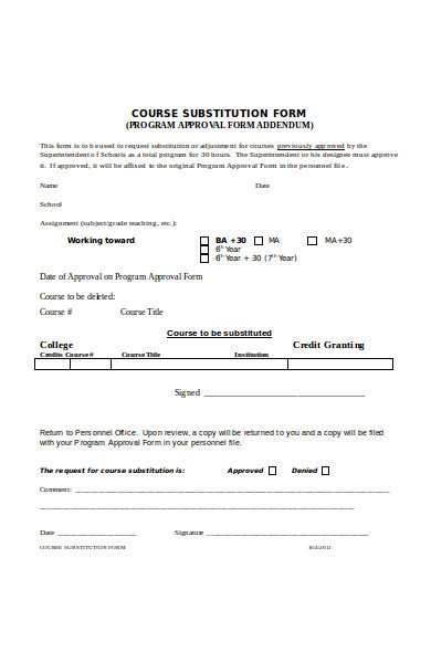 general course substitution form