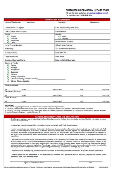 general customer information form