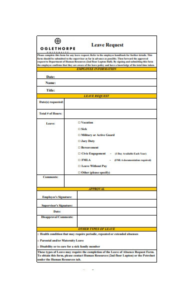 general employee leave request form