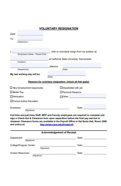 general employee resignation form