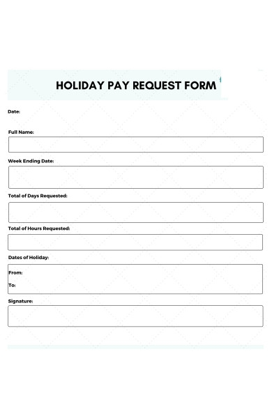 general holiday request form