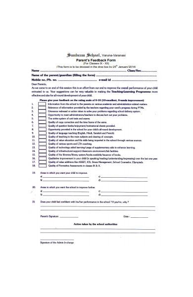 general parent feedback form sample