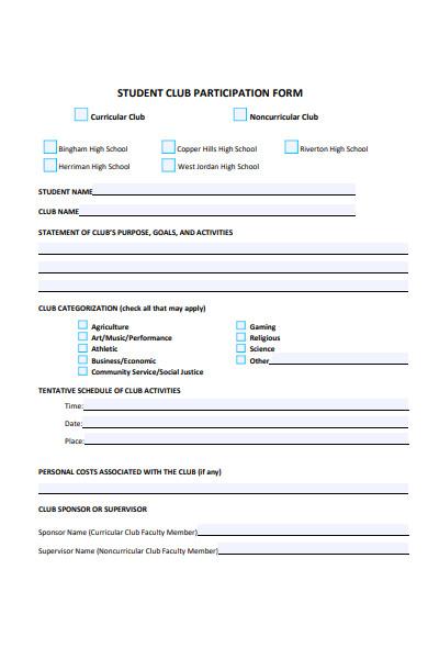 general participation form