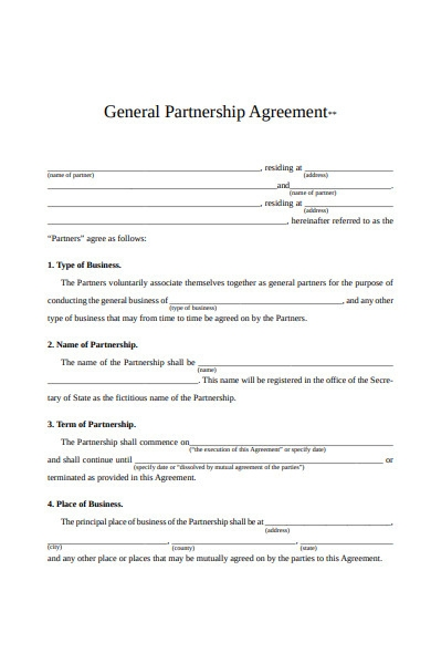 general partnership agreement form