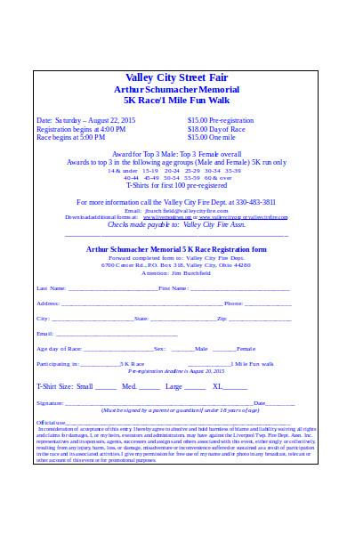 general race registration form