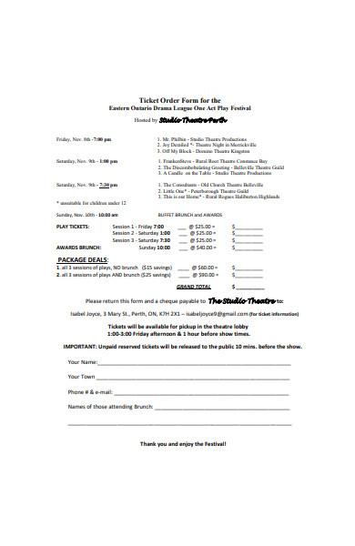 general ticket order form