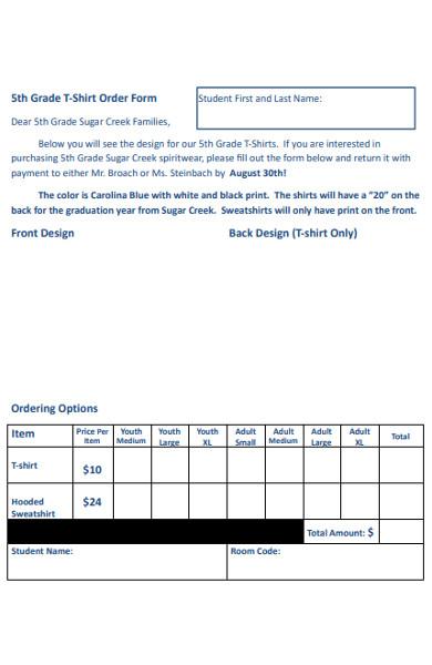 grade t shirt order form