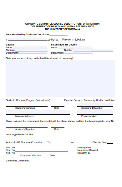 graduate course substitution form