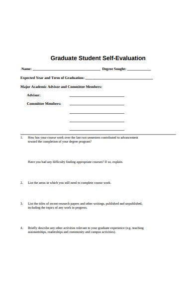 graduate student self evaluation form