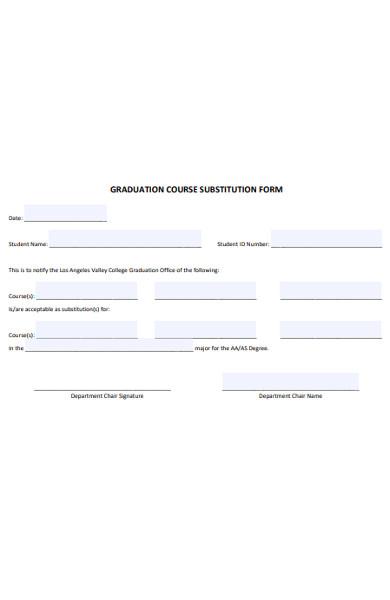 graduation course substitution form