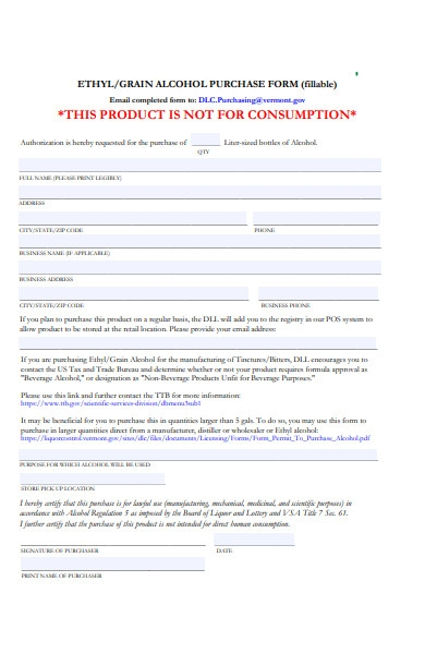 grain alcohol purchase form
