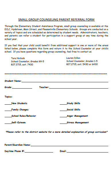 group counseling parent referral form