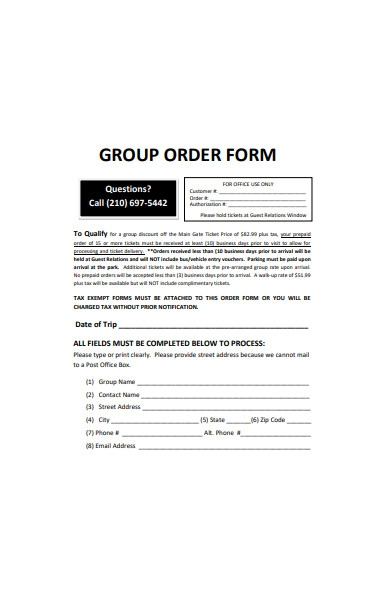group ticket order form template