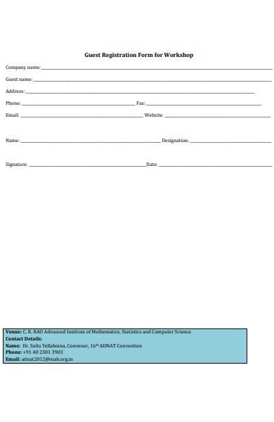 guest registration form for workshop