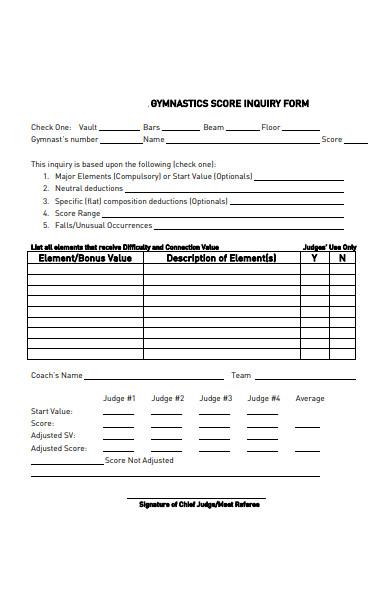gymnastics score inquiry form