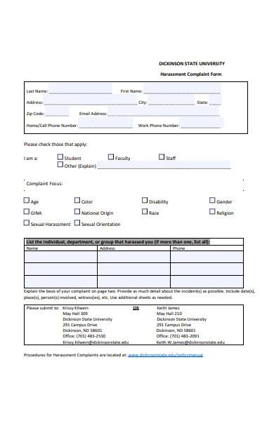 harassment complaint investigation form