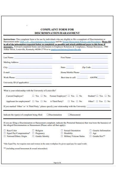 harassment complaint procedure form