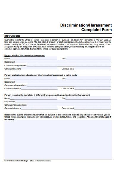 harassment complaint statement form